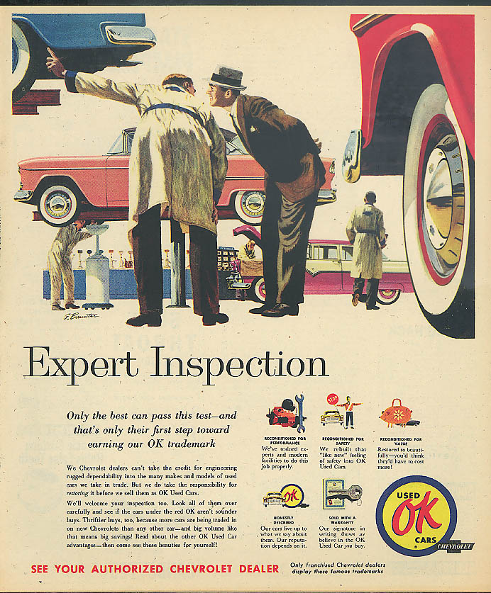 Expert Inspection - 1955 Chevrolet OK Used Cars magazine ad 1956