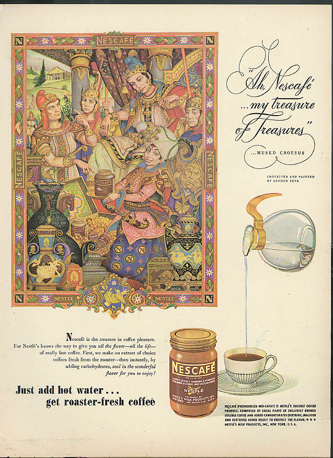 Image for My Treasure of treasures mused Croesus Nescafe Coffee ad 1946 Arthur Szyk
