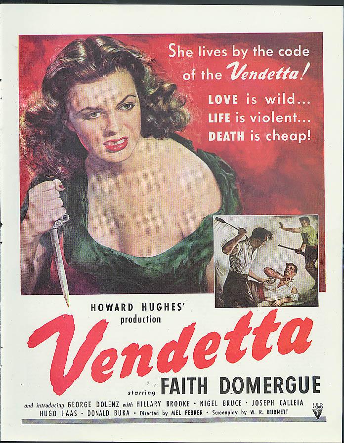 Faith Domergue in Howard Hughes' Vendetta movie MAGAZINE AD 1951