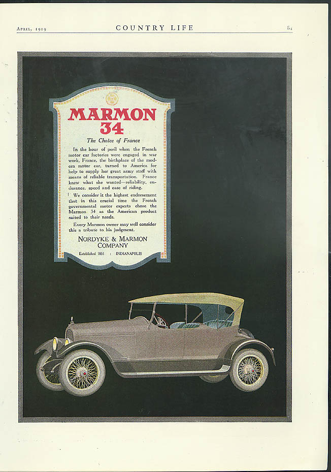 The Choice of France Marmon 34 Touring Car ad 1919 grey car
