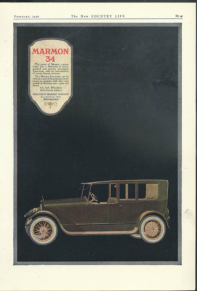 The roster of owners . . . Marmon 34 Limousine ad 1918