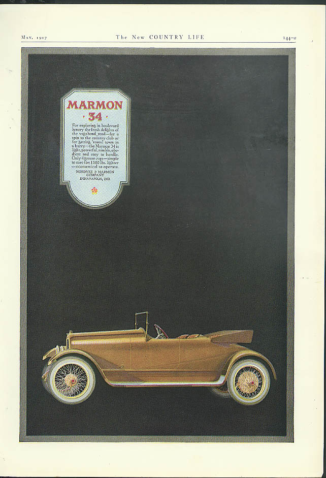 For exploring in boulevard lxury Marmon 34 Roadster ad 1917