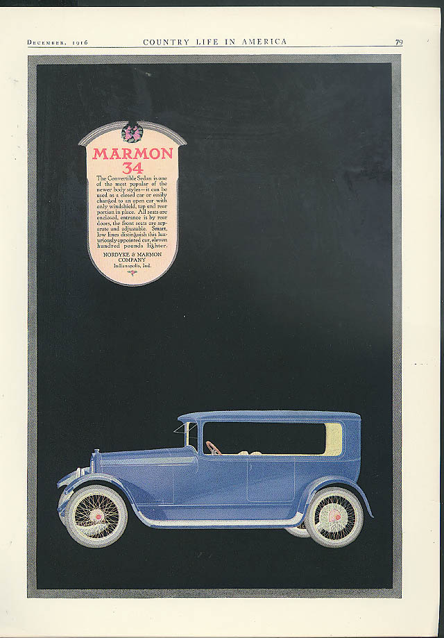 The Convertible Sdan is one of the most popular Marmon 34 ad 1917