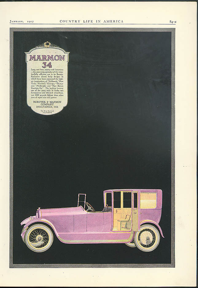 Long & low stately & luxurious Marmon 34 Town Car ad 1917