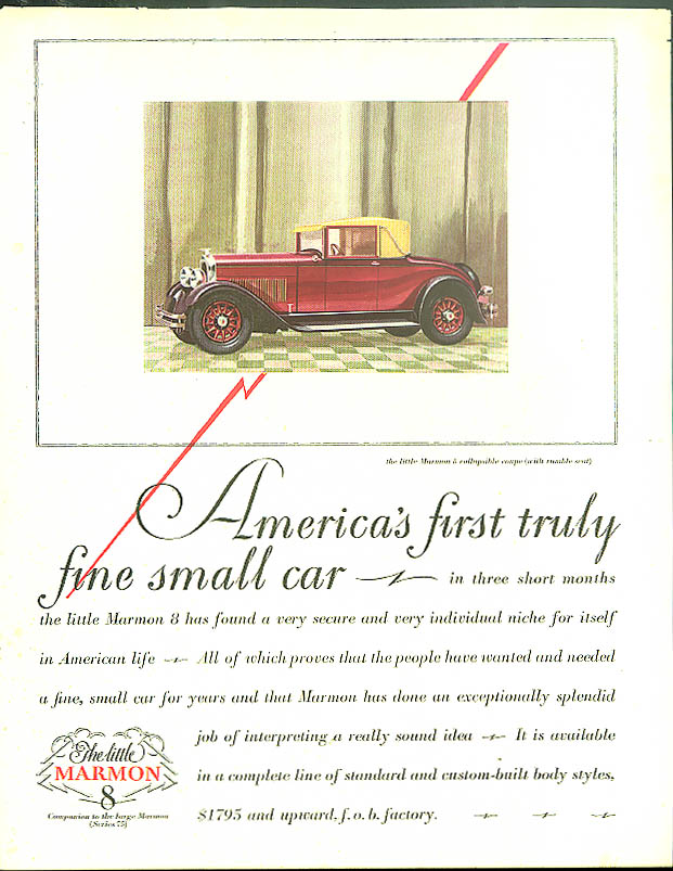 America's first truly fine small car Little Marmon 8 Cabriolet ad 1927