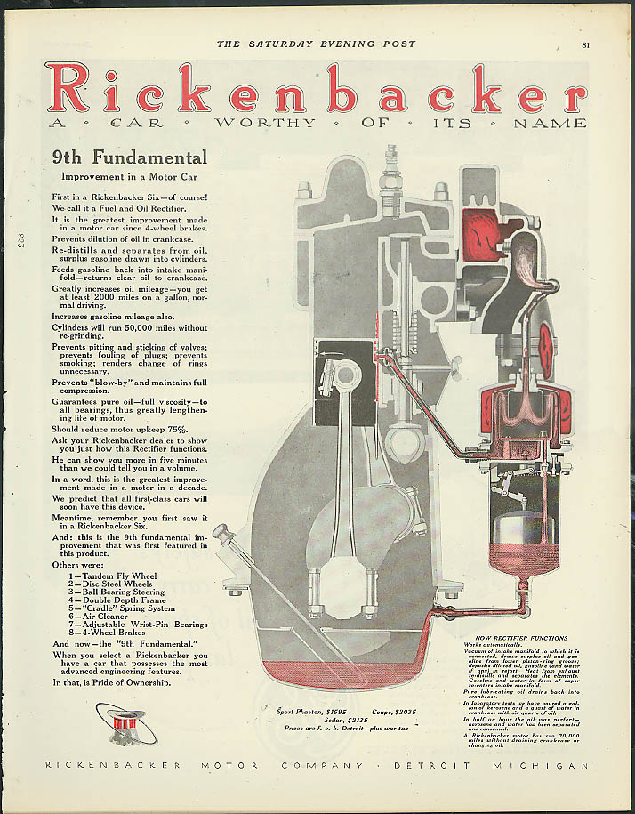 9th Fundamental Improvement in a Motor Car Rickenbacker ad 1924