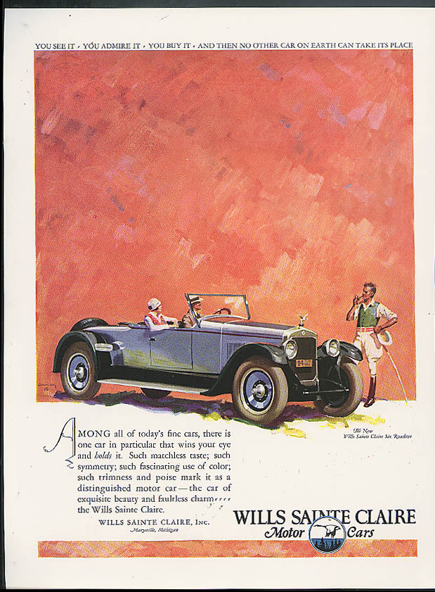 Among all of today's fine cars Wills Sainte Claire Six Roadster ad 1925
