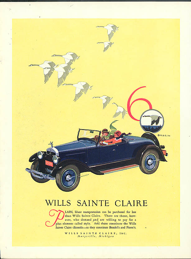 Plain transportation can be purchased for less Wills Sainte Clair ad 1926