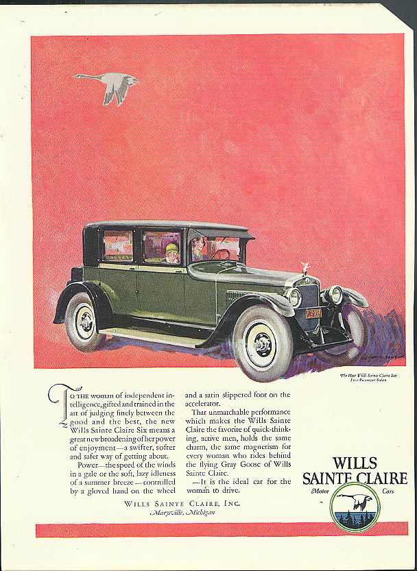 To the woman of independent intelligence Wills Sainte Claire Sedan ad 1925