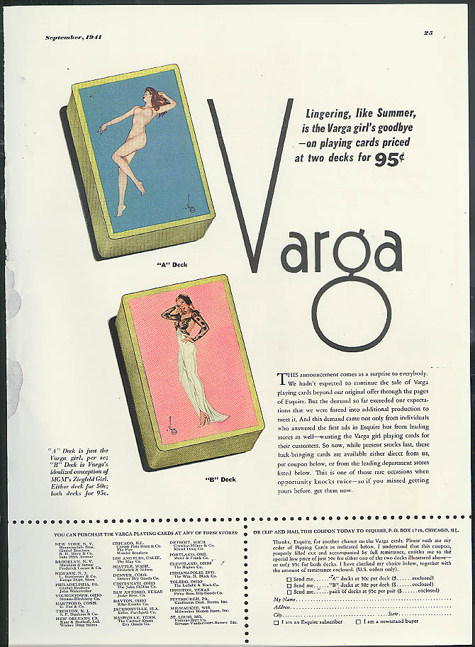 Vargas Varga pin-up Esquire Playing Cards MAGAZINE AD 1941