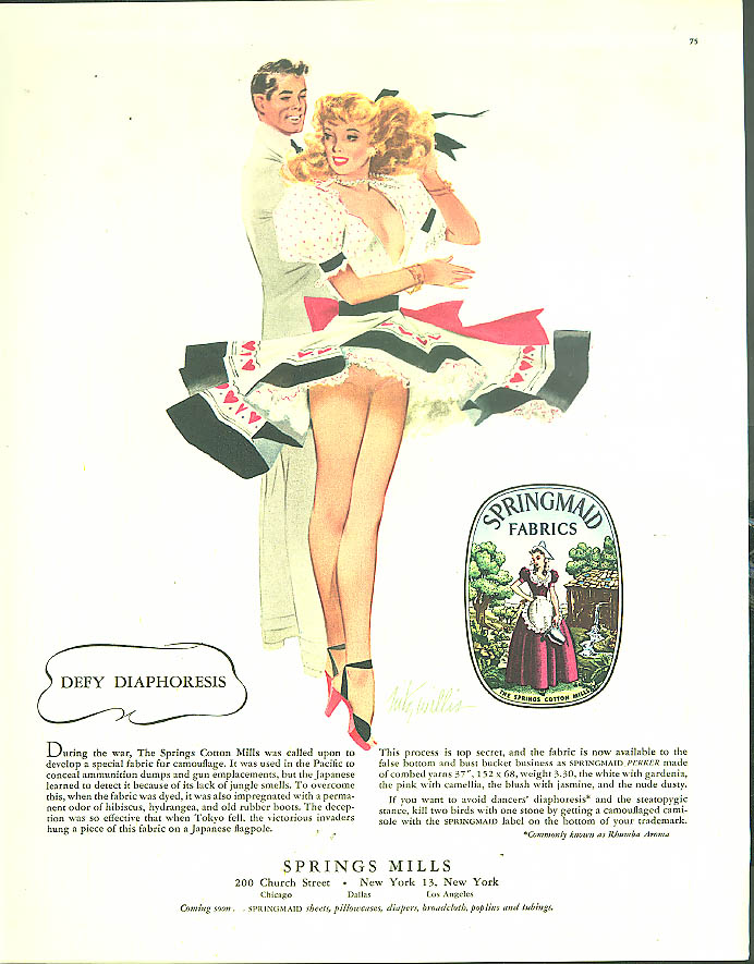 Defy Diaphoresis Springmaid Springs Mills panties ad 1948 Fritz Willis pin-up