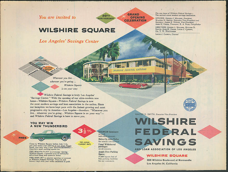 Image for Win a Ford Thunderbird Wilshire Federal Savings Contest ad 1956