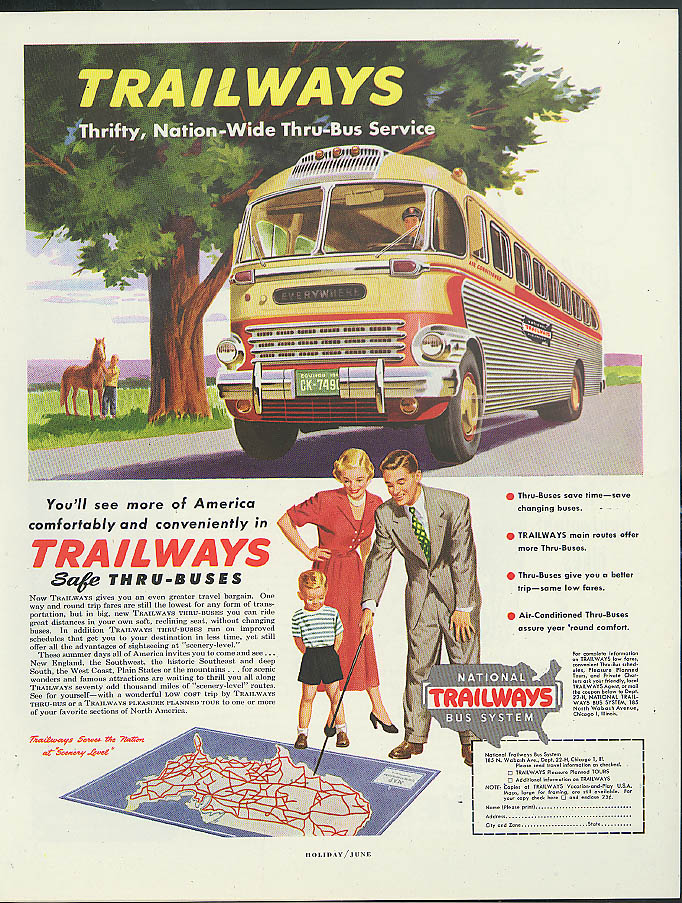 Image for For winter travel at Lowest Fares take Trailways Buses ad 1949
