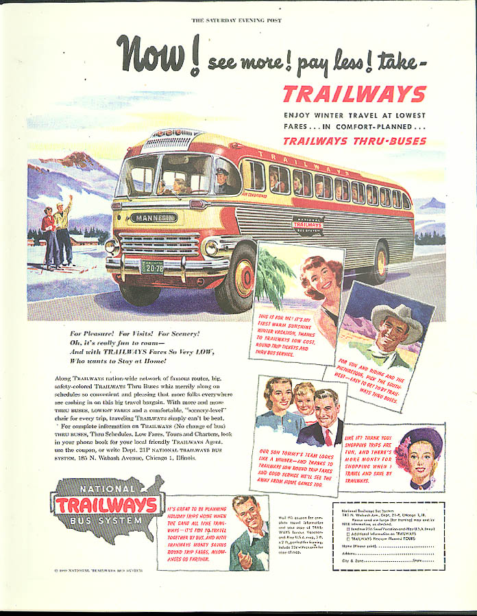 Image for Now! See more! Pay less! Take Trailways Thru-Buses ad 1949 Saturday Evening Post