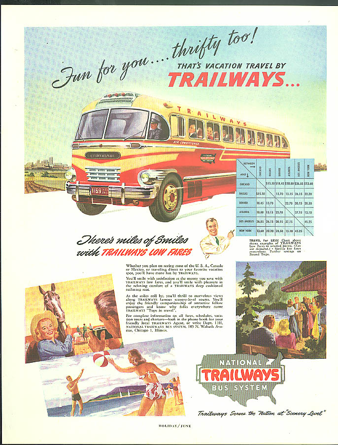 Fun for you - thrifty too! Trailways Bus ad 1948