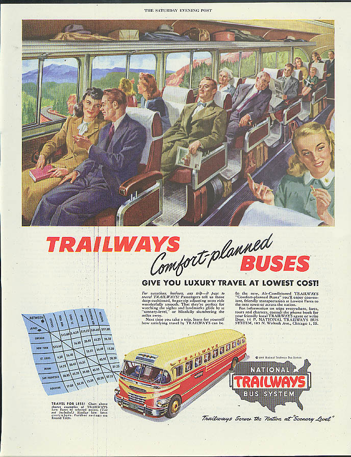 Trailways Comfort-planned buses luxiry travel at lowest cost ad 1948