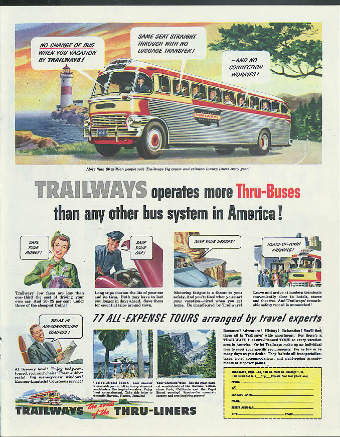 Trailways operates more Thru-Buses than any other bus system in America ad 1951