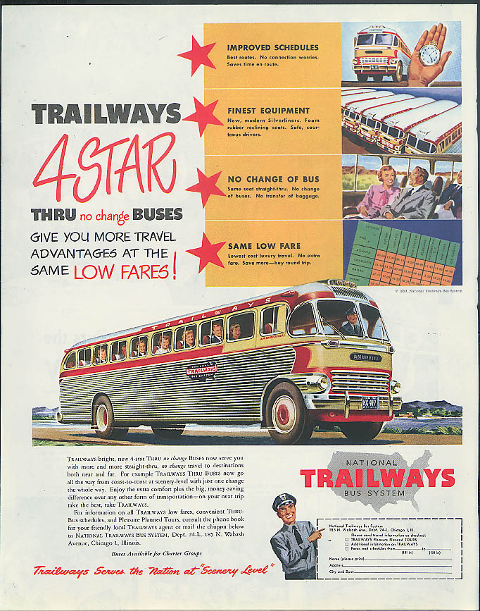 Trailways 4 Star Thru no change Buses more travel advantages ad 1950