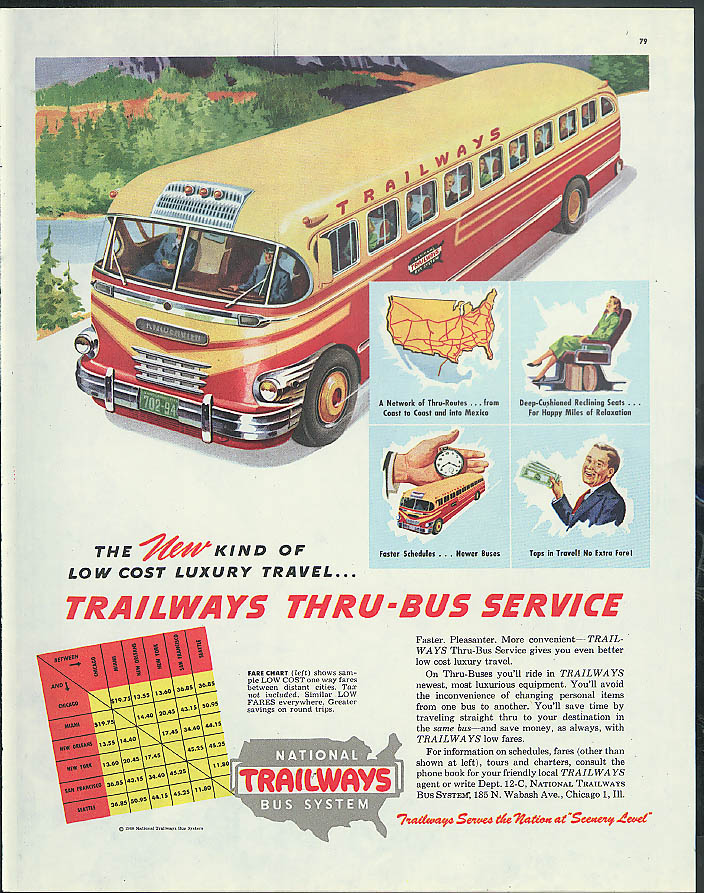 No change of bus when you travel by Trailways Thru-Buses ad 1951