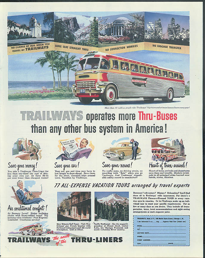 Image for Trailways Thru-Buses save money save your car save your nerves ad 1951
