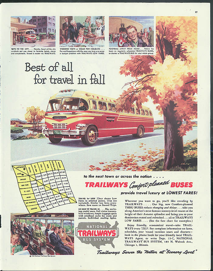 Best of all for travel in fall Trailways Comfort-planned Buses ad 1948