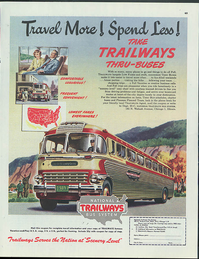Travel More! Spend Less! Take Trailways Thru-Buses ad 1949