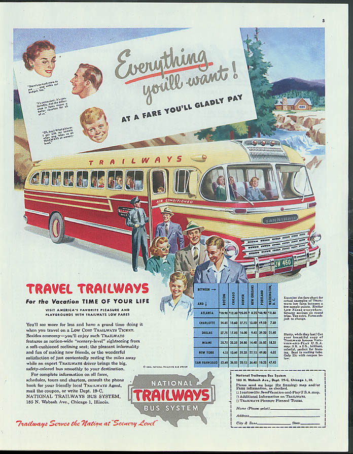 Everything you'll want! At a fare you'll gladly pay Trailways Bus ad 1949