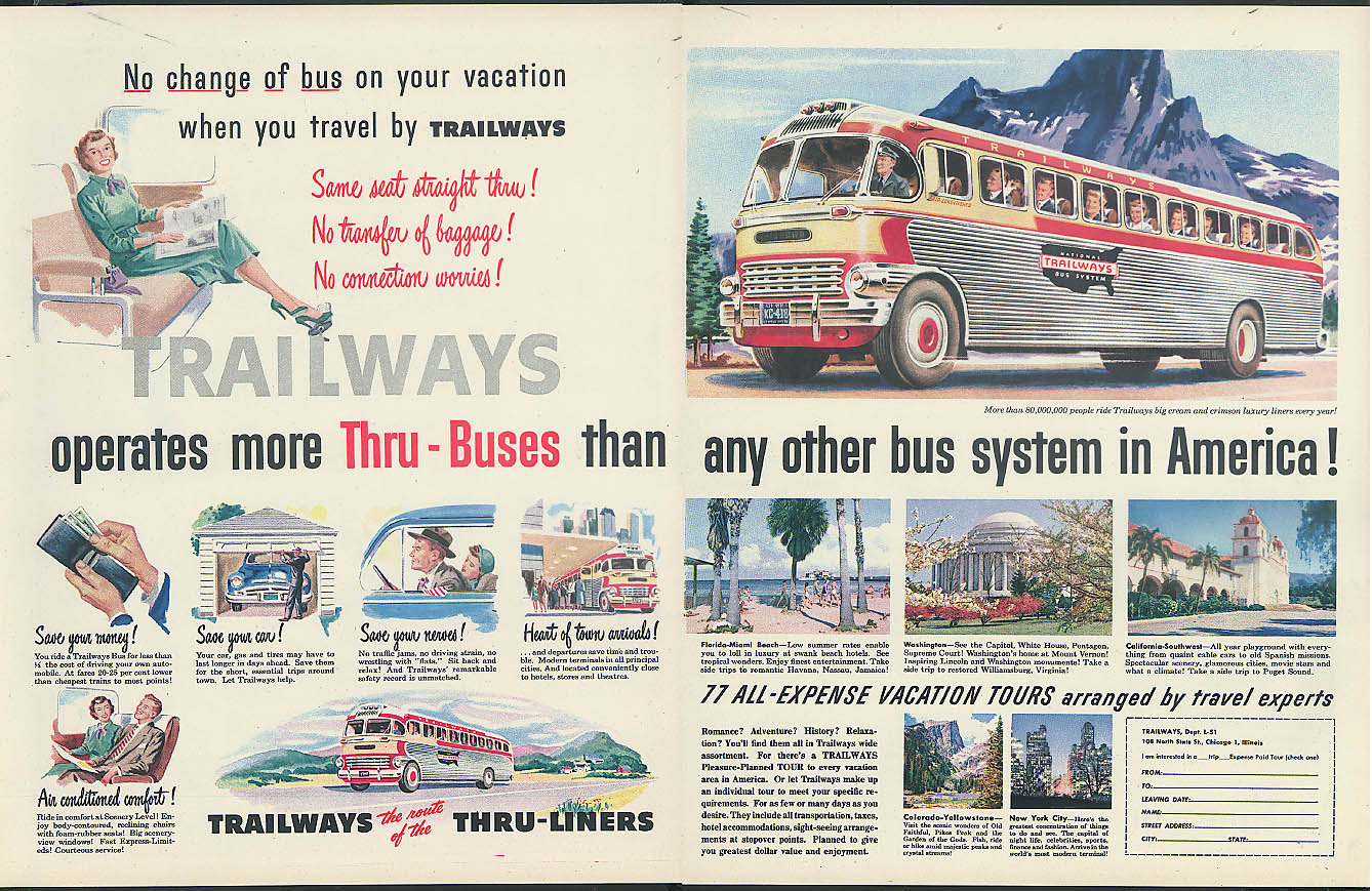 No change of bus on your vacation Trailways Thru-Buses 2-page ad 1951