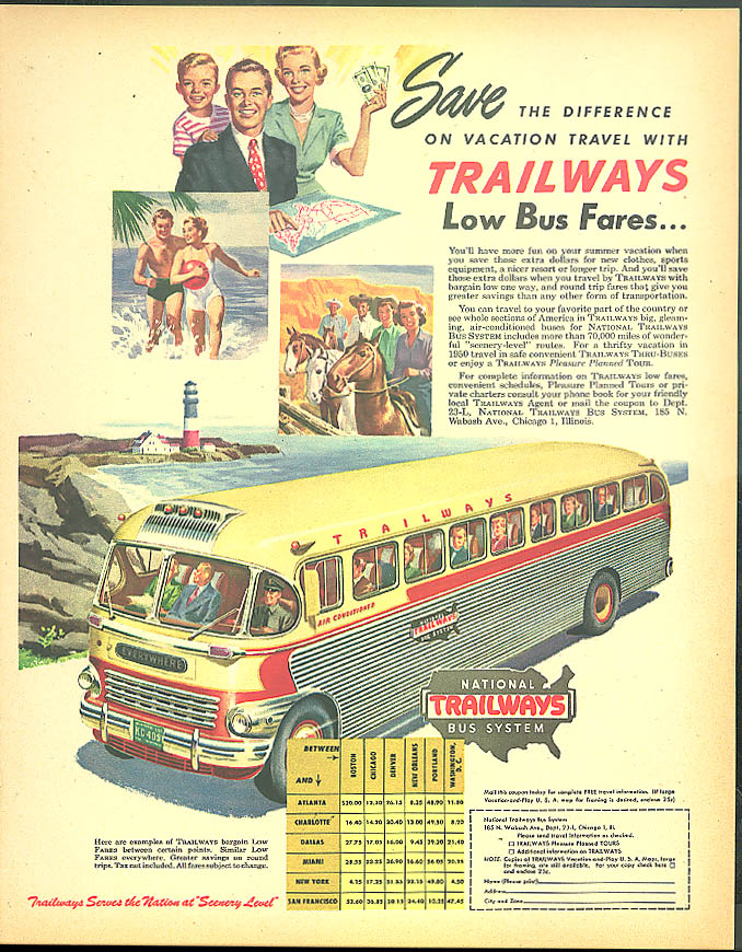 Save the difference on vacation travel with Trailways Low Bus Fares ad 1950