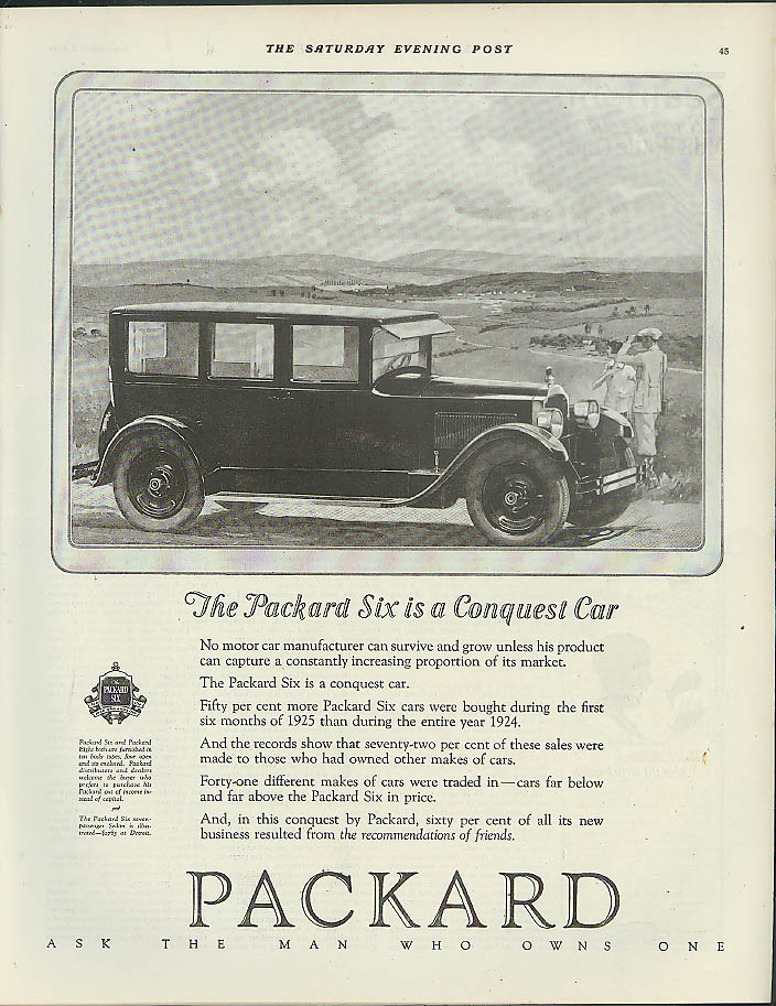 The Packard Six is a Conquest Car ad 1925