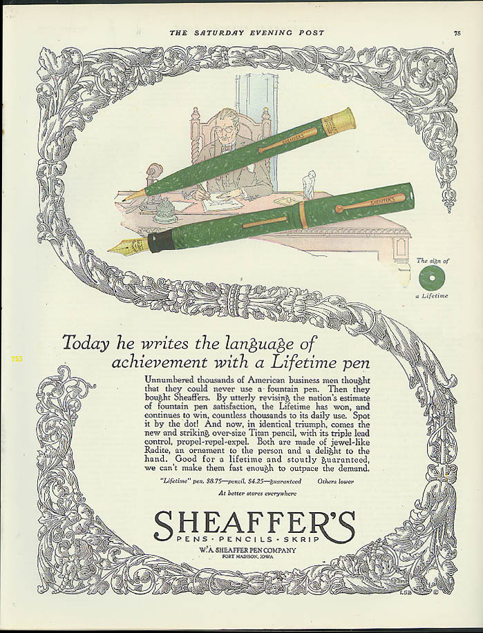 Image for Today he writes the language of achievement Sheaffer's Lifetime Pen ad 1925