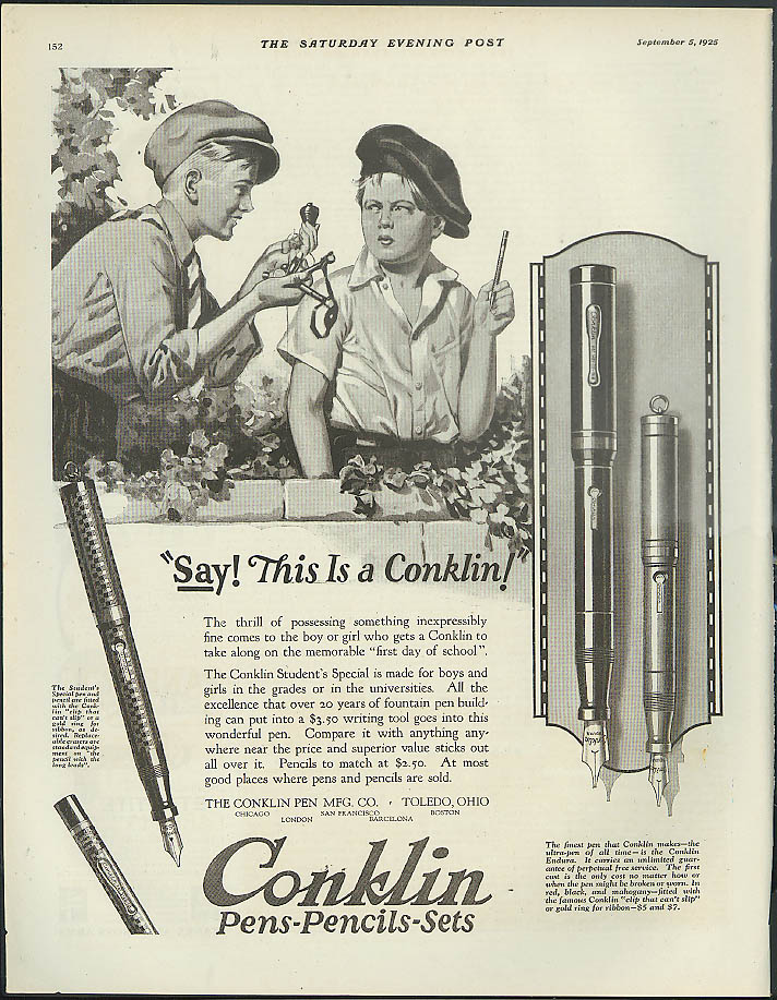 Image for Say! This is a Conklin Fountain Pen ad 1925 boys swapping stuff