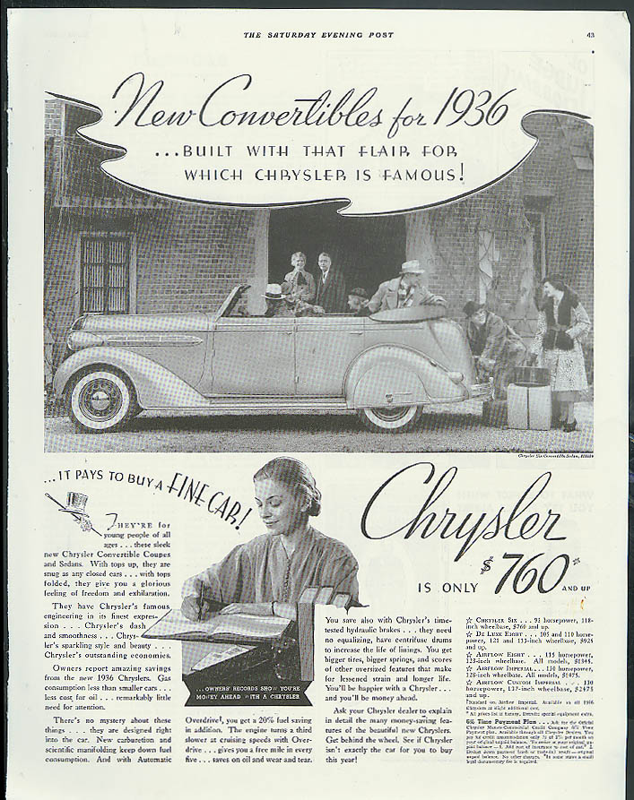 Image for New Convertibles built with that flair Chrysler Convertible Sedan ad 1936