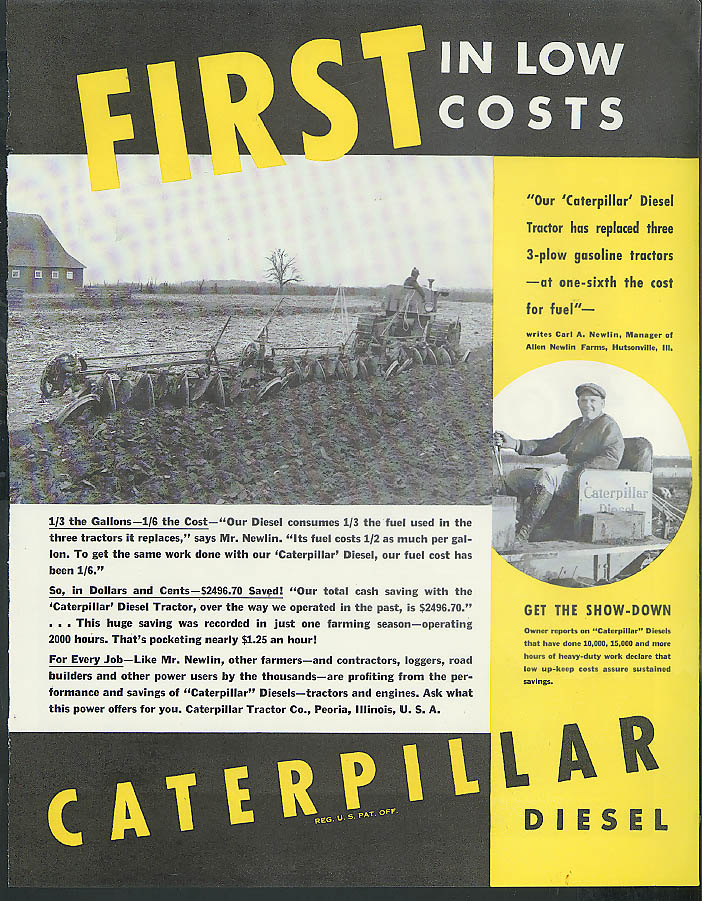 Open Letter to Editors of Time Packard 120 / Caterpillar Diesel Tractor ad 1936