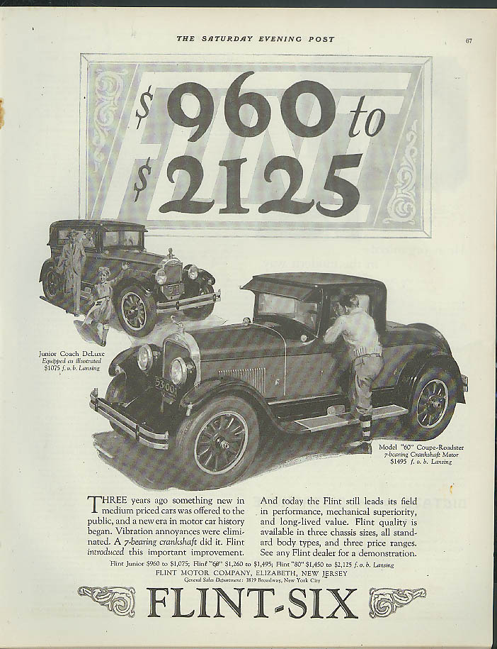 $960-2125 Flint-Six Coupe Roadster & Junior Coach DeLuxe ad 1926 1927