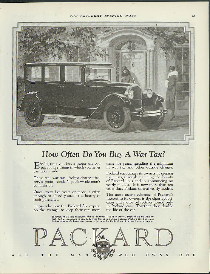 How Often Do You Buy A War Tax? Packard 4-door Sedan ad 1925 1926