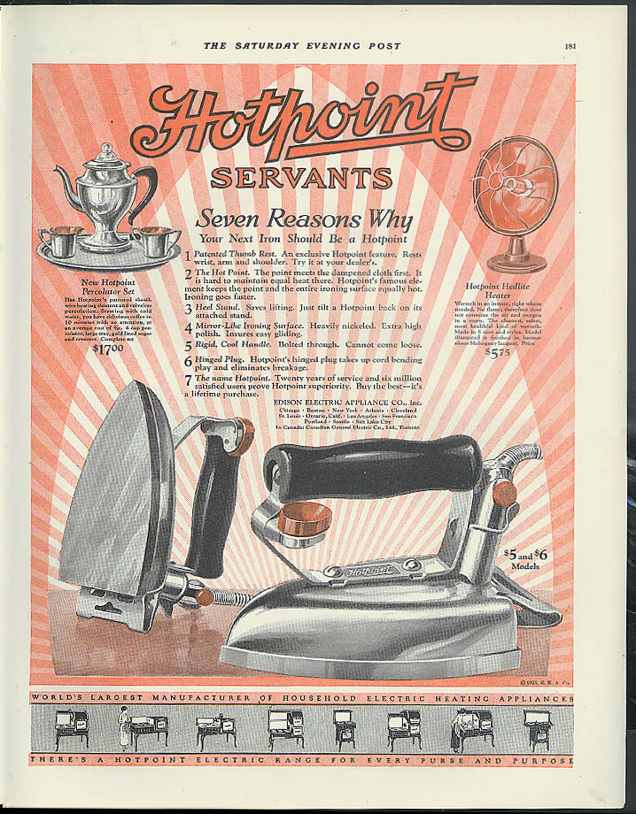 7 reasons why your next iron should be a Hotpoint ad 1925 percolator heater