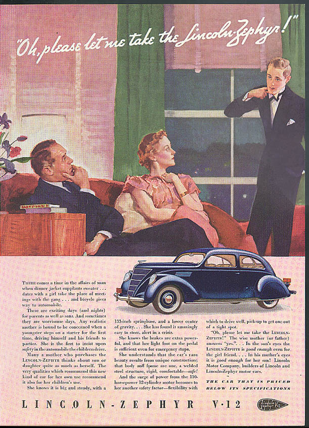Image for Oh please let me take the Lincoln-Zephyr V-12 ad 1937