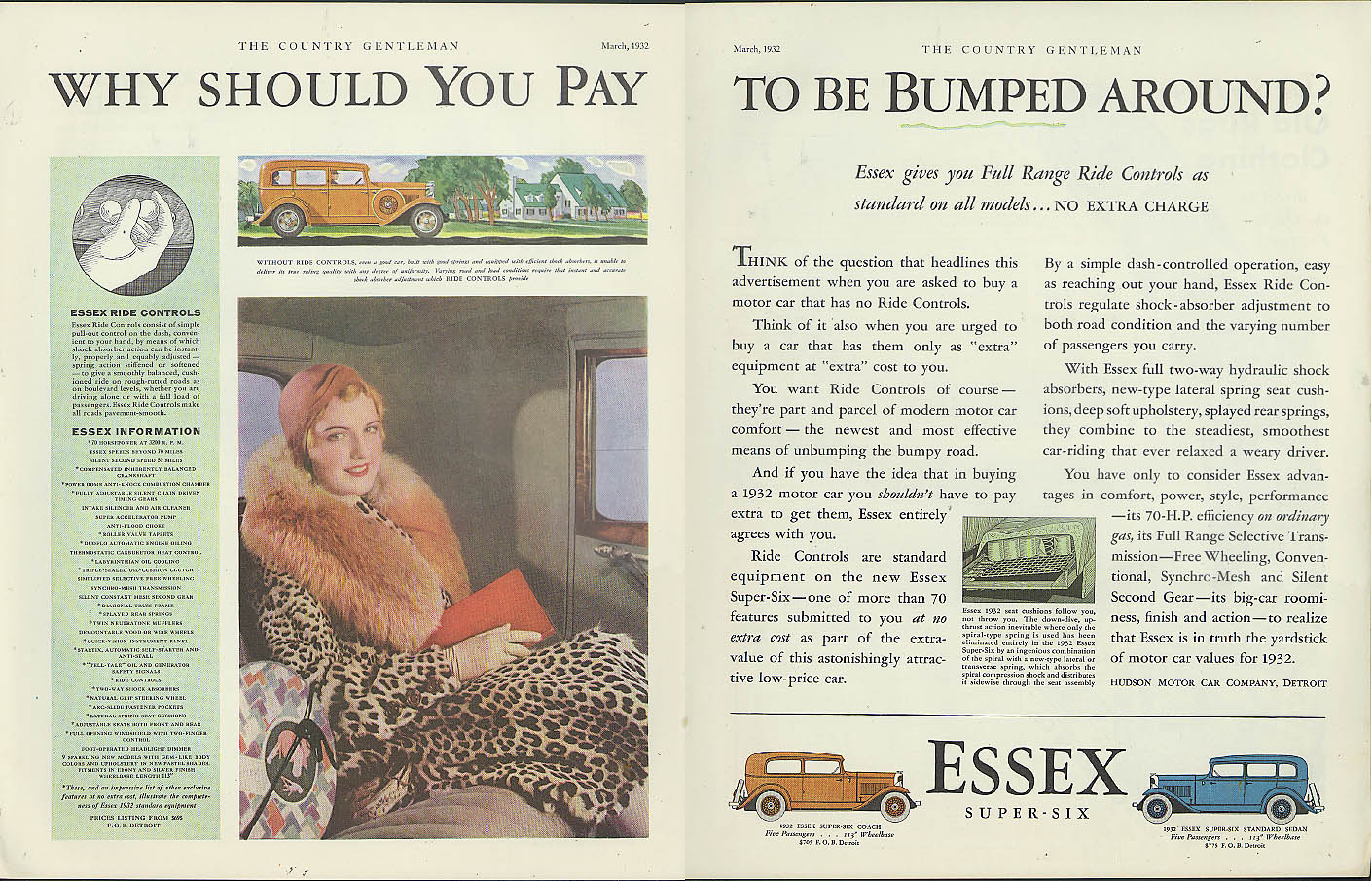 Why should you pay to be bumped around? Essex Super-Six by Hudson ad 1932