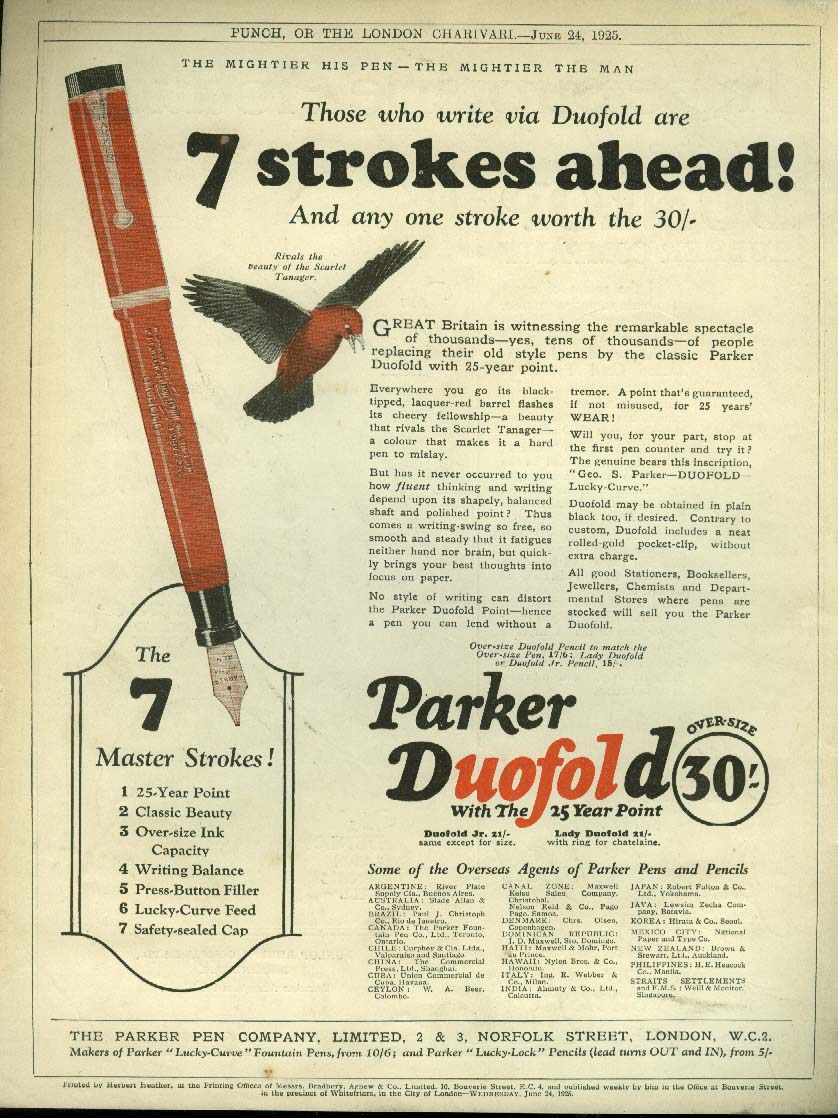 7 strokes ahead Parker Duofold Fountain Pen / Dunlop Ties Tennis Golf ad 1925