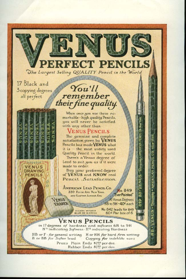 Image for You'll remember their fine quality Venus Perfect Pencils ad 1920