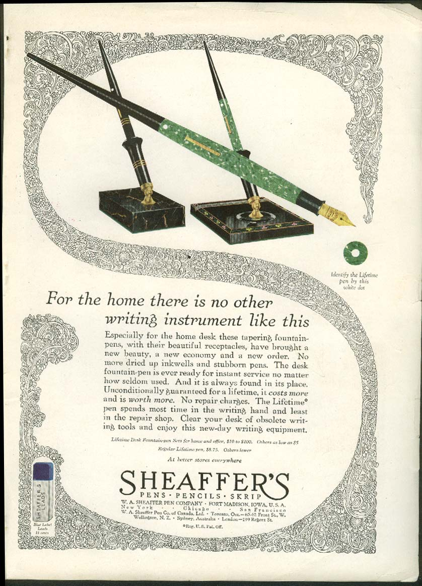 Image for For the home there is no other writing instrument Sheaffer's Pen ad 1927