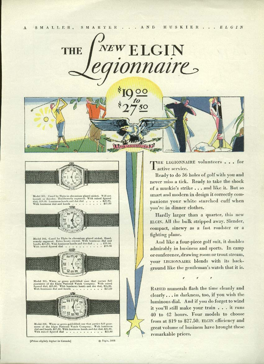 Image for The Elgin Legionnaire Wristwatch ad 1928