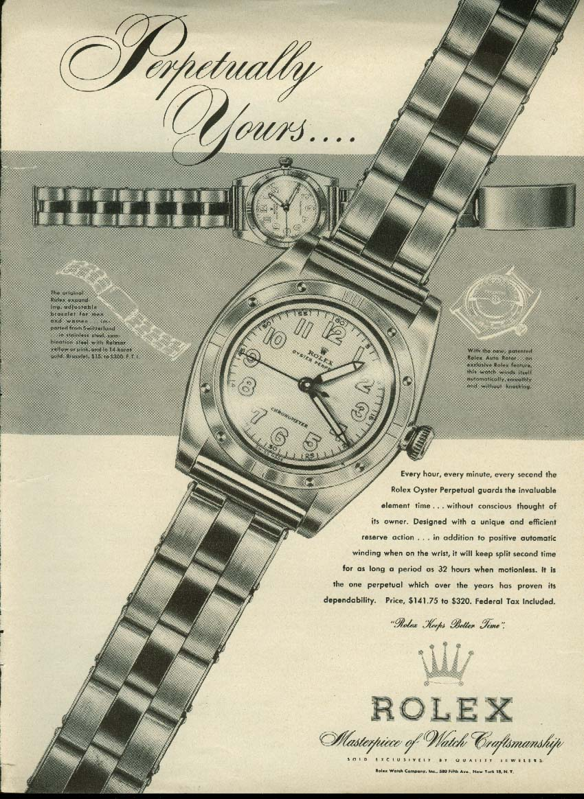Perpetually Yours Rolex Oyster Perpetual wristwatch ad 1947