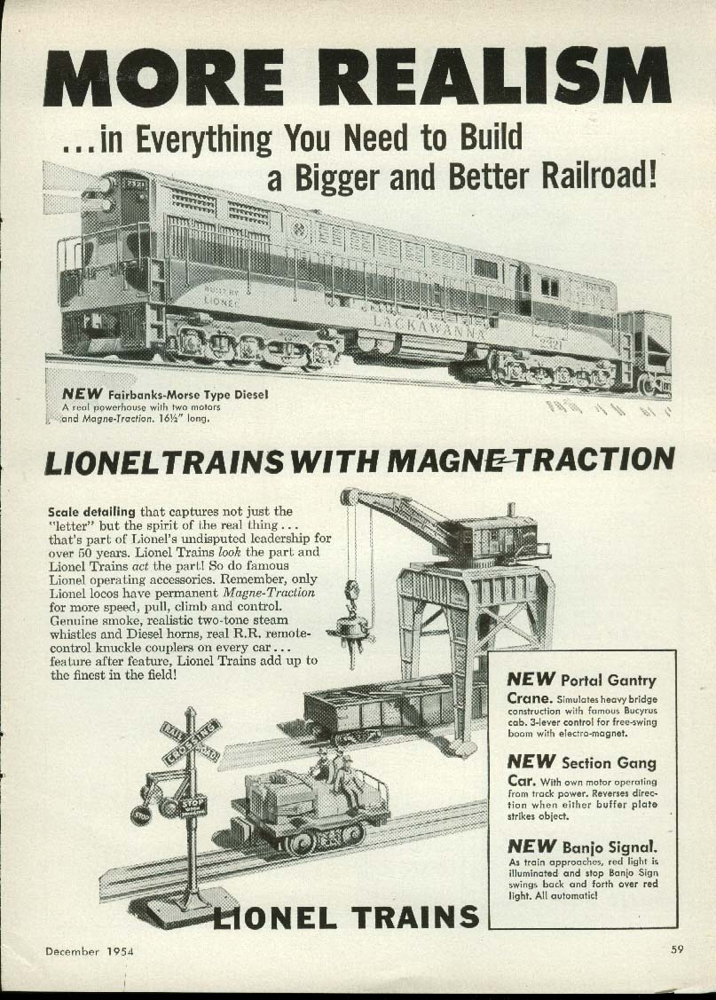 Image for More Realism Lionel Electric Train ad 1954 Lackawanna Diesel, Section Gang Car
