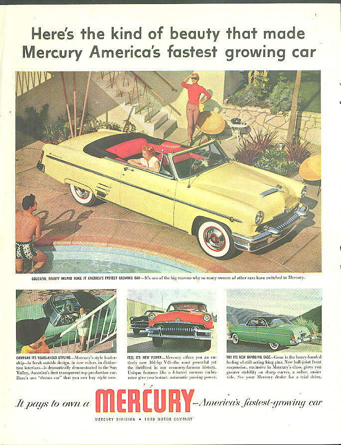 America's fastest growing car Mercury Monterey Convertible ad 1954