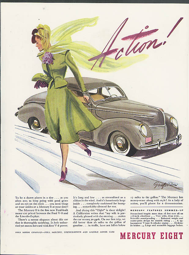 Action! To be a dozen places in a day Mercury 8 Coupe ad 1939