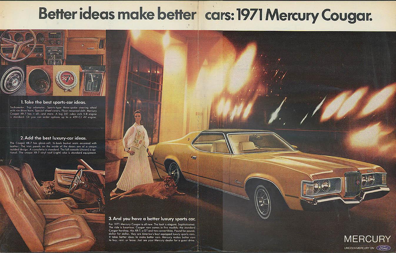 Better ideas make better cars. Mercury Cougar ad 1971