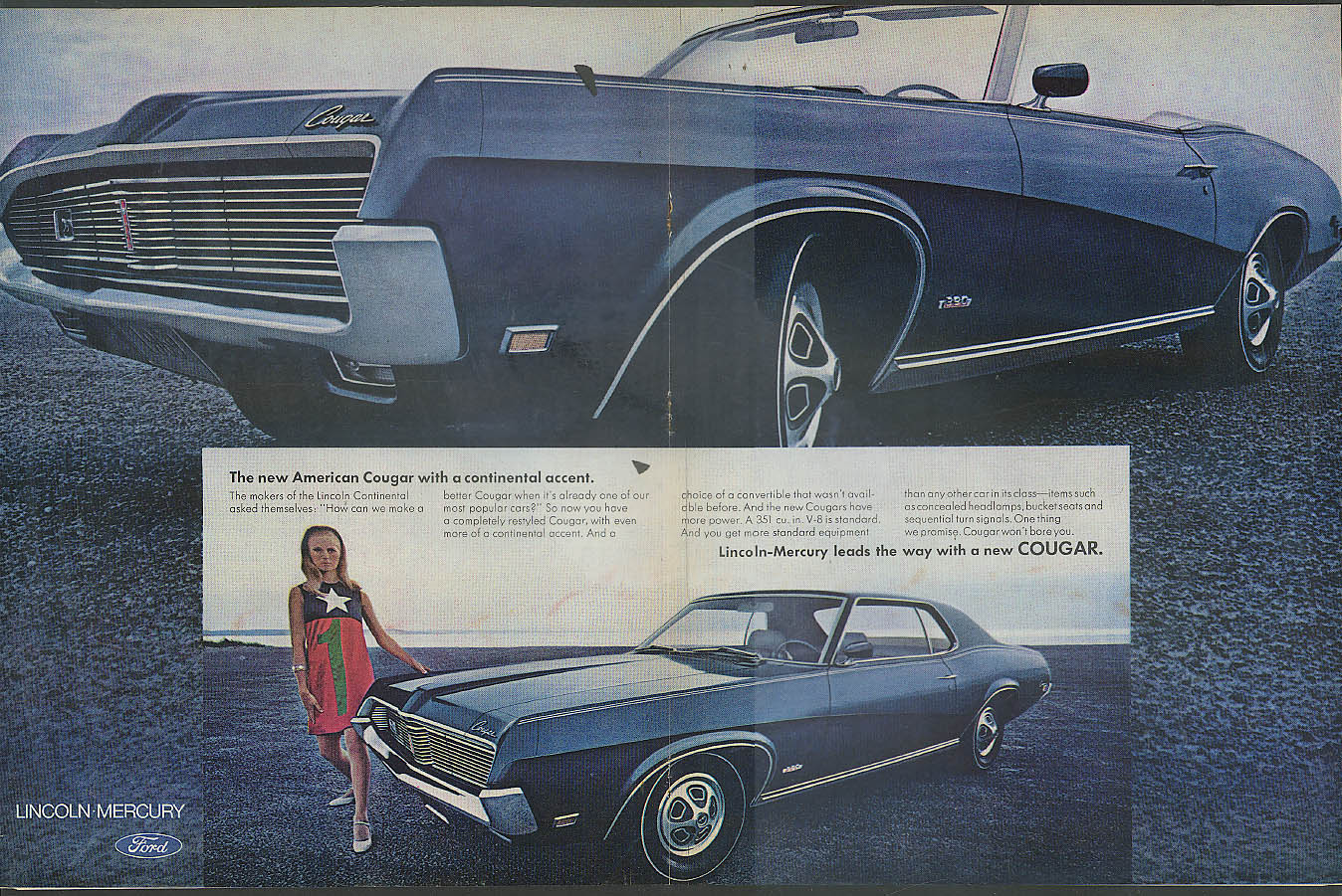 The new american mercury cougar convertible with a continental the new american mercury cougar convertible with a continental accent ad 1969 publicscrutiny Gallery