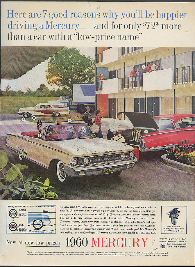 7 good reasons you'll be happier driving a Mercury Convertible Wagon HT ad 1960